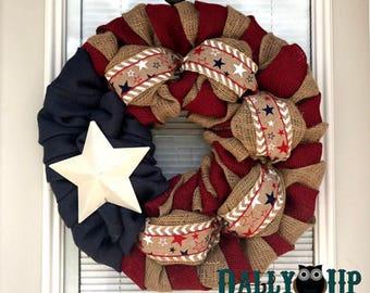 Star Wreath - USA wreath Summer Wreath, Wreath, Summer Decor, Wreath Burlap Wreath - Summer Decor Burlap, Spring Wreath