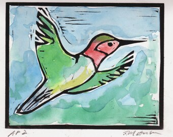 Hummingbird, A Linocut with Watercolor, Original, Signed