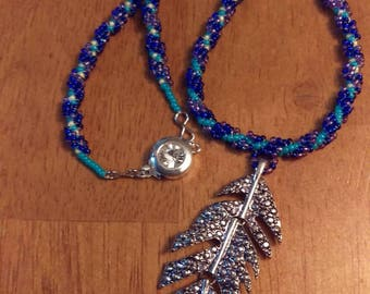 Spiral Beaded Feather Necklace