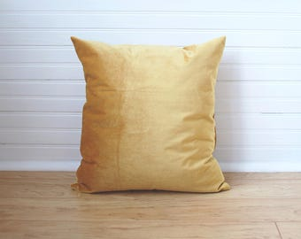 Mustard Velvet Pillow Mustard Yellow Pillow Mustard Pillow Yellow Velvet Jewel Toned Pillow Mustard Throw Pillow Dark Yellow Pillow