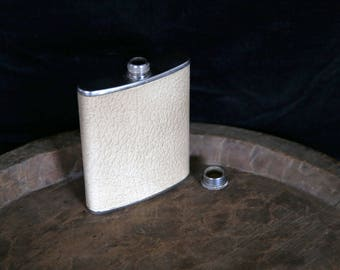 Vintage 6oz Stainless Steel hipflask with leather casing