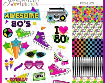 50% OFF Awesome Rad 80s Clipart