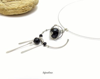 Black pendant, glass beads and stainless steel necklace