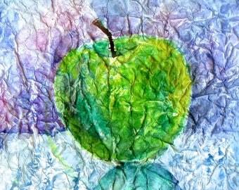 Watercolor painting fruit, Original Watecolor Painting Green Apple, Green Apple Painting, Still life Painting, Unique Watercolor Painting