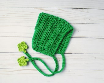 Green Hat, Green Bonnet, St. Patty's Day Hat, St. Patty's Day Bonnet, St. Patrick's Day Hat, Green Baby Hat, Green Baby Bonnet, Baby Gift