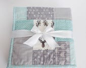 Baby Boy Quilt, Baby Quilts Handmade, Turquoise, Blue and Gray, Antlers & Arrows, Baby Boy Bedding, Woodland Nursery, Baby