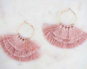 Dusty Rose Pink Tier Tassel Hoop Earrings