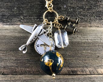 Travel, Compass Gold  Charm Necklace on Gold Plated Chain