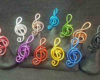 Colorful Treble Clef Dreadlock Jewelry, Hair Jewelry, Loc Coils, Dreadlock Jewelry, Dreadlock Beads, Dread, Wire  Loc Jewelry,  Braid Beads