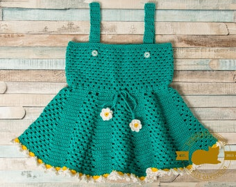 Crochet Baby Dress, Summer Daisy Baby Dress, Princess Pinafore Dress, Infant Pinafore, Green Dress, Girl Clothing, Frilly Dress 1-2 Year Old
