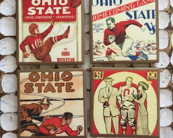 COASTERS! Vintage Ohio State program cover coasters with gold trim