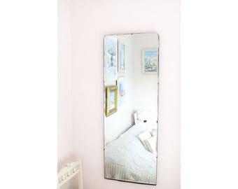 SALE Extra Large Antique Mirror Vintage Mirror Bevel Mirror Art Deco mirror frameless mirror  M158