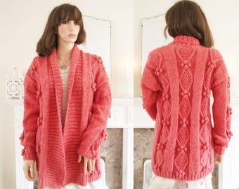 Hand knitted aran cardigan Coral aran jacket Hand knitted soft yarn cardigan Coral handknit sweater Coral aran handknit jacket  A1355