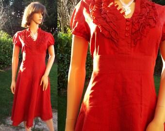 Lined dark red cotton dress Summer dress Ruffle dress Secretary dress Party dress Day dress Rich red dress Pure cotton dress UK size 12