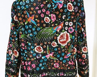 Vintage Chinese hand embroidered black jacket, Mandarin floral embroidery bird blouse top, asian