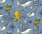 "Organic knit fabric, Organic Cotton Jersey ""Blaeckfisk"" Pirate fabric by Rebekah Ginda for Tidoeblomma by the half yard"