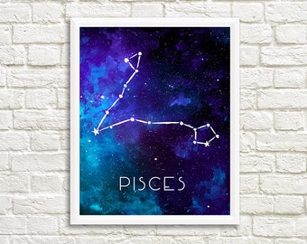 Pisces Constellation, Art Print, Watercolor, Blue, Aqua, Aquamarine, Night Sky, Space, Stars, Horoscope, Digital File, Instant Download
