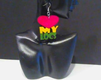Love My Locs/Heart My Locs Earrings/Rasta Colors/PanAfrican Colors Earrings/MADE TO ORDER