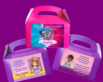 Personalized Treat Boxes, Goody Bags, Party Favors : Shimmer and Shine / Sofia the First / Doc McStuffins