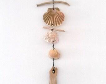 Driftwood wreath: wood shells