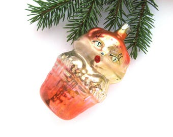 Cat in basket, Soviet Christmas tree decoration, Animal, Glass Christmas ornament, New Year, Russian Toy, USSR, Soviet Union, 1970s