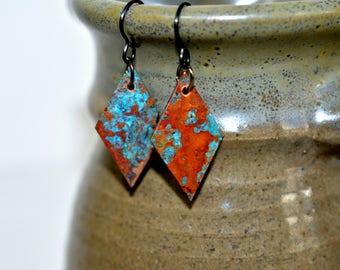 Patina copper earrings, geometric earrings, artisan earrings, blue patina, rustic earrings, triangle earrings, modern earrings, boho style