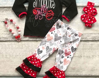 Smooches Yall Valentine outift with matching necklace and headband. FREE SHIPPING!!
