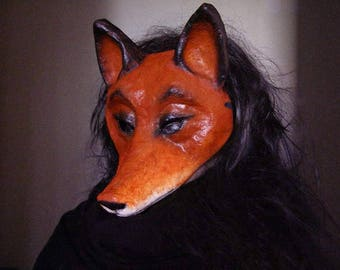 Masquerade mask Fox mask Animal mask Fox costume Paper mache mask Fancy dress Face mask