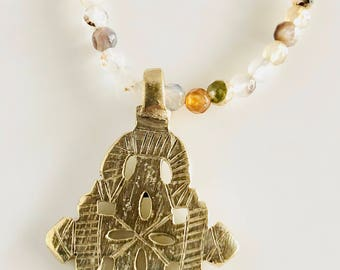 African Inspired Long Agate Ethiopian Cross Necklace