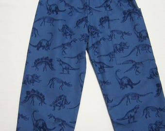 Blue Cotton Dinosaur Pants in Sizes 3 Months  6 Months  12 Months  18 Months  2  3  4  5  6