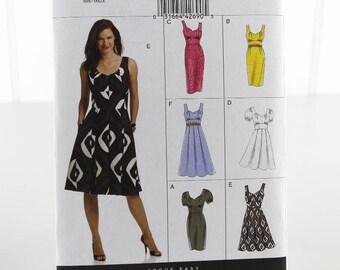 Vogue Fit and Flare Dress Sewing Pattern, Uncut Sewing Pattern, Vogue V8555, Size 8-14