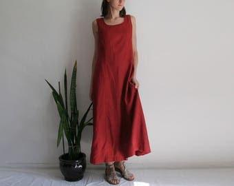 Vintage L/UK12 dark wine red long linen dress