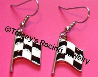 Single checkered flag earrings Traceys Racing Jewelry