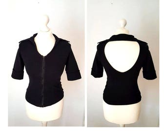 90s Black Backless Zipper