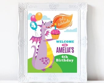 Purple Dragon Welcome Sign, Customized Printable DIY Party Sign, Girl's Birthday Party, Cute Dragon Welcome Sign