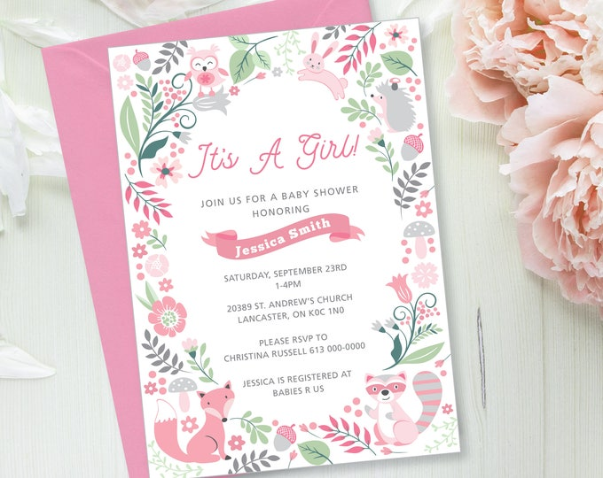 Baby Girl Shower Invitation and Book Request, Printable, Customized - woodland theme, pink woodland animals