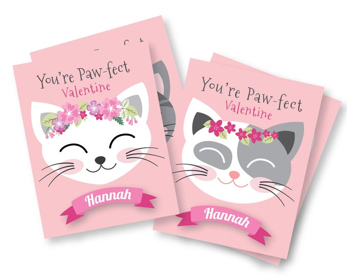 Customized Cat Valentines Day Cards / printable DIY card / classroom Valentine for kids / Custom Name Valentine Cards