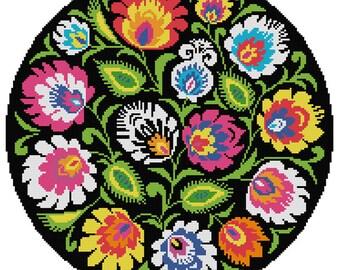 Folky Flowers Meadow Polish wycinanki Polish Folk Art digital cross stitch  pdf pattern