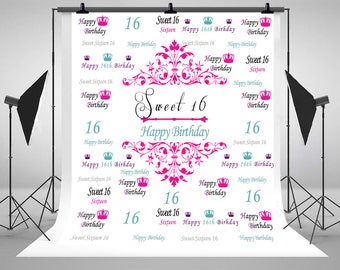 Sweet 16 Birthday Banner Photography Backdrops Custom Step and Repeat Photo Backgrounds for Children Party Studio Props