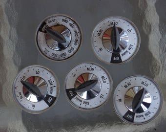 Set of 5 Vintage 1960's Frigidaire Rangetop Oven Dials