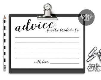 Bridal Shower Advice Cards For The Bride To Be Elegant Fancy Unique Bridal Shower Game Neutral Black White 5x7 2 Per Page Printable JPEG DIY