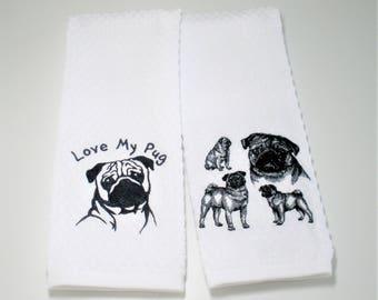 """Pug Gift, Pug Kitchen Towel, Pug Decor, Dish Towel, Pug Lover Gift, Pug Owner Gift, Love My Pug, Dog Lover Gift, Hostess Gift  """"Pug"""""""