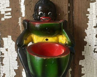 Vintage Black Americana Chalkware Figurine of Boy Eating Watermelon, Pickaninny Chalkware Planter, Black Americana Chalkware Planter