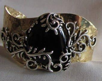 Carolyn Pollack Goldtone 925 and Black Onyx Cuff Bracelet