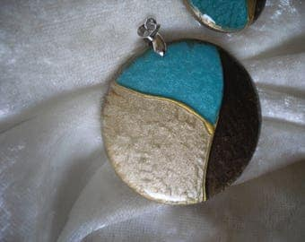 cabochon pendant, beige / turquoise / Brown, handmade, 2 pieces