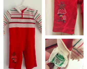 60s Christmas Romper, Baby Jumper, Holiday Onesie, Embroidered, Mushrooms, Bull Frog, Vintage Baby,  Size 6  12 mos, Bell Bottom, Cute Baby