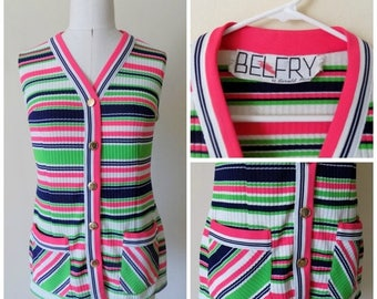 60s Sleeveless Top, Belfry, Striped, Ribbed, Sleeveless, Two Pocket, Size 8, Pink, Green, Black, White, 1960s, Womens Vintage Clothing