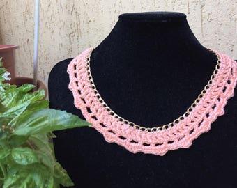 Cotton on peach golden chain necklace