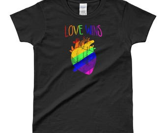 Gay Pride Shirt LGBT Love Wins Anatomical Heart Rainbow Equality Lesbian Women  T-shirt