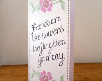 Greeting card single - Friends - handmade 10.5 cm x 21 cm